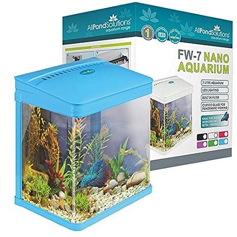 Todos Estanque Soluciones Nano Fish Tank Acuario/LED Luces, pequeño, 7 L, Color Azul: Amazon.es: Productos para mascotas