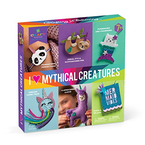 Crafttastic  I Love Mythical Creatures Kit  Craft Kit Includes 6 Projects Featuring Mythical Creatures