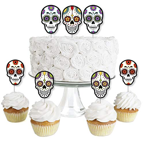 Day Of The Dead - Dessert Cupcake Toppers - Halloween Sugar Skull Party Clear Treat Picks - Set of 24 ()