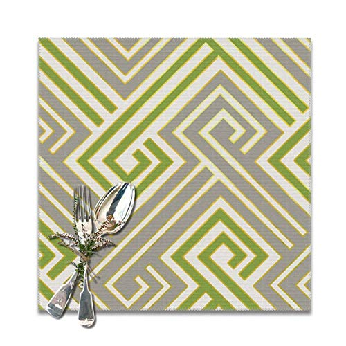 Athena Serving Tray - Athena in Luxe Green and Gray Table Placemats for Dining Table, Wipeable Placemats Washable Table mats Heat-Resistant Set of 6