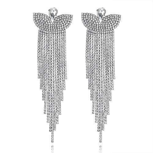 Bridal Long Tassel Earrings, Butterfly Crystal Pendant Dangling Earrings Wedding Jewelry