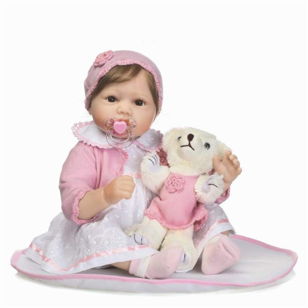 Kids Beach Toys Baby Girl Doll With Toy Bear Clothes Hat Feeding Toys Rewborn Nursery Baby Alive Doll Realistic Pretend Role Play Kids Toys Cute Newborn Baby Girl Doll LifelikeBaby Toddlers Infants Gi