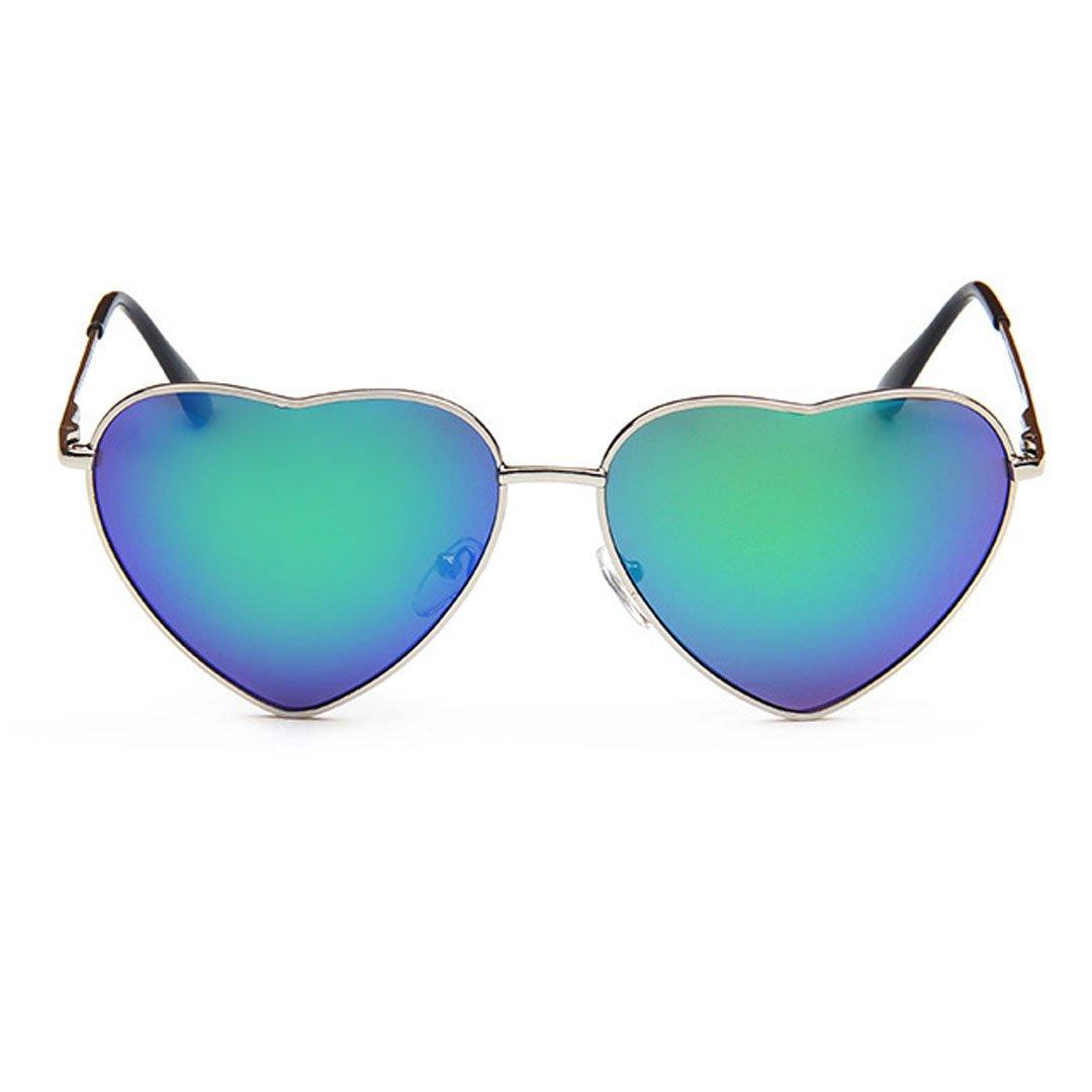 Meliya Mode Lunettes de soleil Mental Cadre en forme de cœur Lunettes de soleil polarisées UV400Preotection Eyewear avec étui, Green