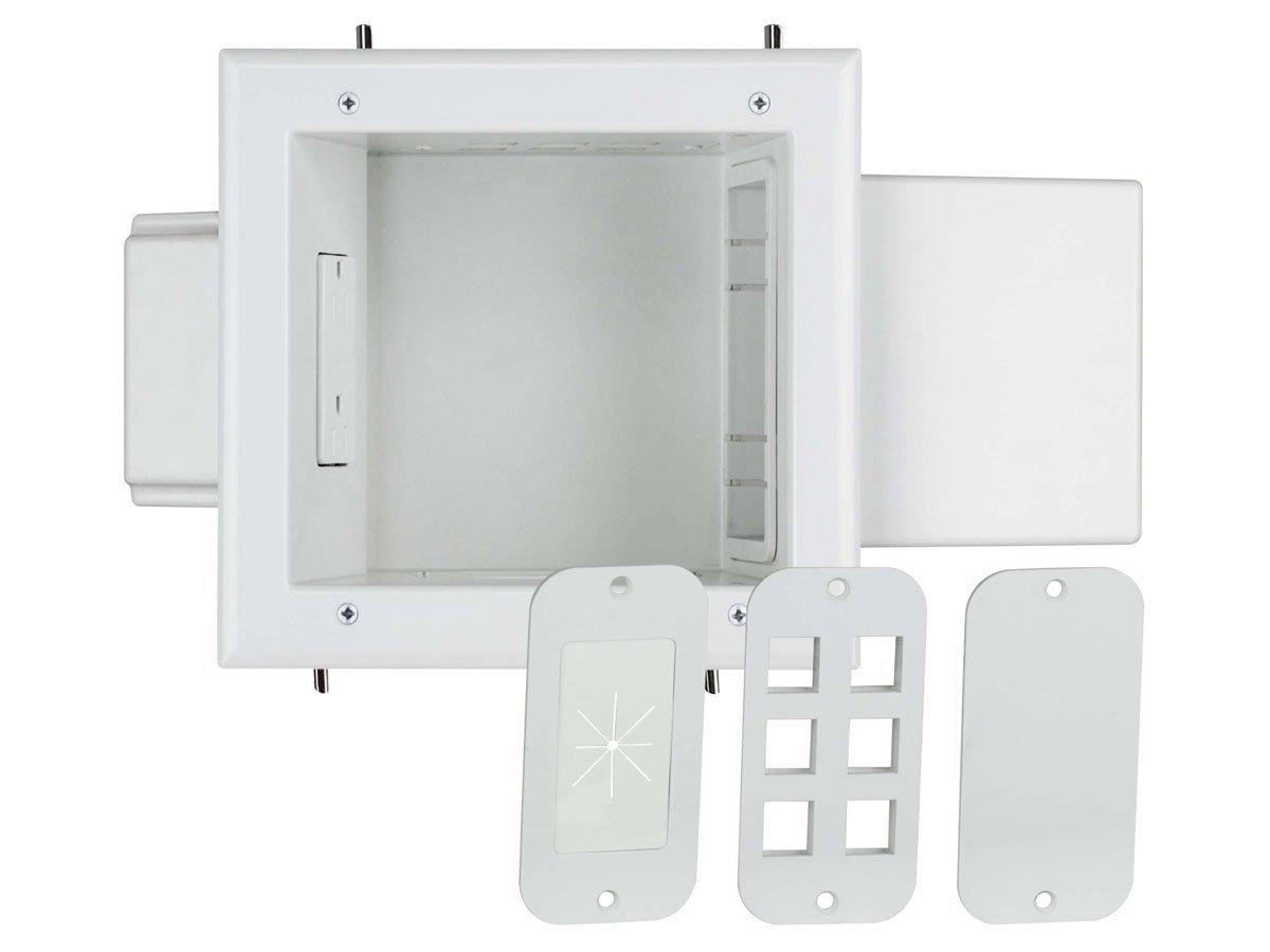 Monoprice Expandable Media Box with Duplex Receptacle, White