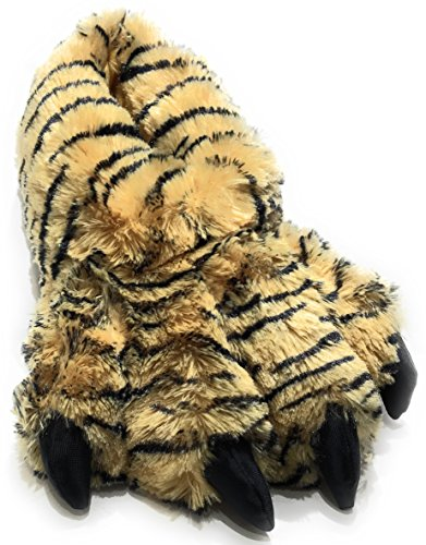 Wild Ones Furry Animal Claw Slippers for Toddlers, Kids and Adults (Medium Youth Big Kids 3 to 7, Bengal Tiger)