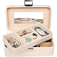 SONGMICS Girls Jewelry Box 2 layer Organizer Mirrored Jewelry Case Faux Leather, Gift for Mom, Cream UJBC141