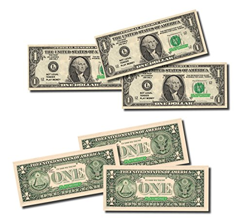 Colered Toy Money : Best real looking play money size color double