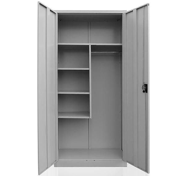 Cleaning supplies cabinet, steel broom closet, linen cupboard, metal ...