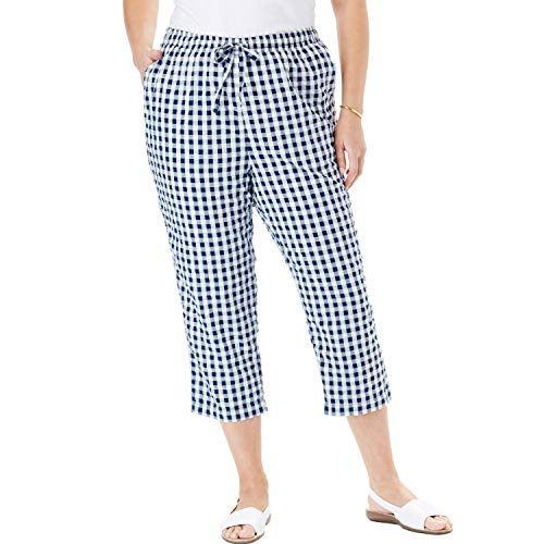 Woman Within Women's Plus Size Petite Seersucker Capri Pant - Evening Blue Gingham, 22 -
