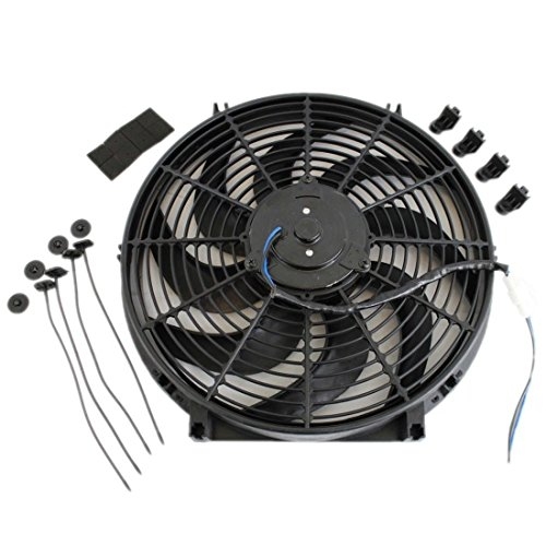 Universal High Performance Wide Curved 12V Electric Cooling Radiator Fan with Mounting Kit (14 Inch, (1995 Chevrolet Beretta Radiator)