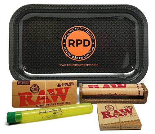 Bundle-5-Items-RAW-King-Size-Supreme-110-Roller-and-Pre-rolled-Tips-with-Rolling-Paper-Depot-Rolling-Tray-and-Kewl-Tube