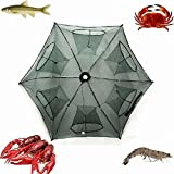 Portable Folded Fishing Net Fish Shrimp Minnow Crayfish Crab Baits Cast Mesh Trap automatic, Easy Use Hexagon 6 Hole Cage Crab Fish Minnow Crawdad Shrimp (6 sides 6 Holes 2-Pack)