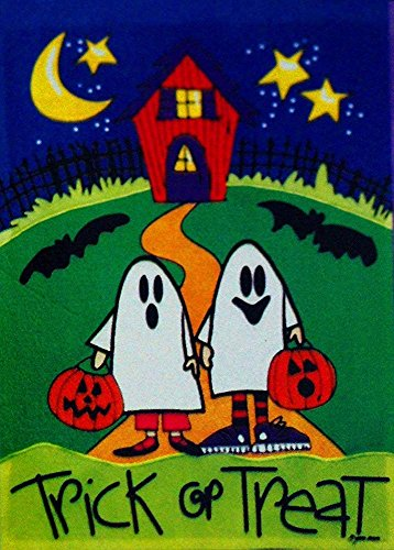 Double Sided Appliqued Garden Flag - Trick or Treat Two Little Ghosts Fall Halloween Garden Flag - Appliqued Small 12 x 18 for Autumn Porch House Banner