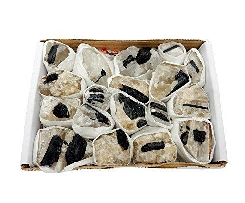 Crystals & Healing Stones Set - Premium Healing Crystals Gift Kit in Box - Chakra Set Natural Stones - Rustic Home Decorations Collection Black Tourmaline on Matrix