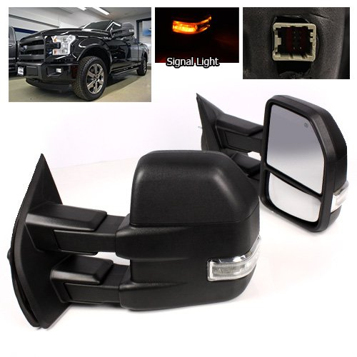 Modifystreet Power Side Towing Mirrors with Turn Signal & Heated Defrost for 2015-2016 Ford F150 (8 pin connector) models