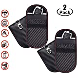 Upgraded Faraday Bag for Key Fob (2 Pack),Premium Faraday Cage Car Key Protector - RFID Signal Blocking, Anti-Theft Pouch, Anti-Hacking Case Blocker (Carbon Fiber Texture*2)