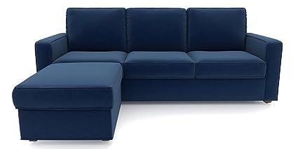 Urban Ladder Apollo Compact L Shaped Sofa 3 Seater Ottoman Cobalt
