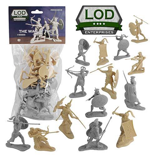 LOD Trojan War Greeks vs. Trojans Soldiers - 16 TAN & Gray 1:30 Plastic Figures from LOD