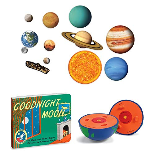 Cross Section Model Earth (Learning Resources 13-Piece Giant Magnetic Solar System Set, Cross-Section Earth Model and Goodnight Moon by Margaret Wise Brown, Science Kit, Learning Toys, Discovery, Book, Planets, Educational)