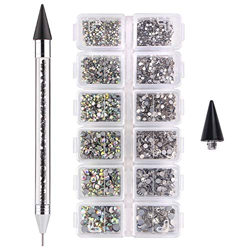 2736 Pcs Nail Crystal AB Art Flatback Rhinestones Gems Stones with Jewel Picker Tool, 1.6mm-4mm 6 Sizes Rhinestones for Crafts Nails Clothes Face