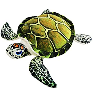 Athoinsu Realistic Stuffed Sea Turtle Soft Plush Toy Ocean Life Tortoise Throw Pillow Birthday for Toddler Kids, 18''