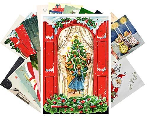 Vintage Christmas Greeting Cards 24pcs Christmas Theme Postcards Collection Reprint Postcard Set
