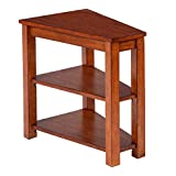 Birch Veneer V-shaped Wedge Chairside Accent Table with 2 Shelves