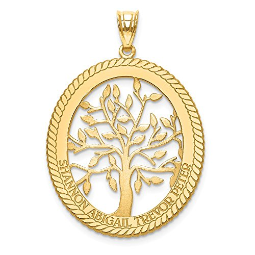 (Jewelry Pendants & Charms Personalized 14ky Laser Polished Family Tree Oval Pendant)