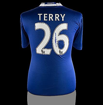 bcb9a762c Image Unavailable. Image not available for. Color  John Terry Back  Autographed Signed Chelsea 2016-17 Home Shirt ...