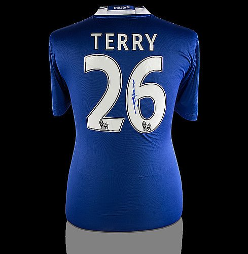 (John Terry Back Autographed Signed Chelsea 2016-17 Home Shirt - Certified Authentic Soccer Signature)
