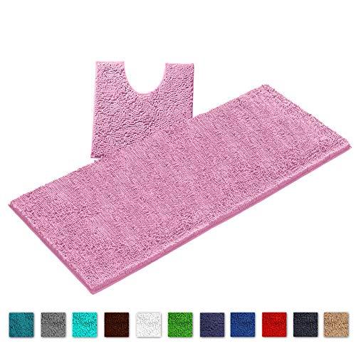 LuxUrux Bathroom Rugs Luxury Chenille 2-Piece Bath Mat Set, Soft Plush Anti-Slip Shower Rug +Toilet Mat.1'' Microfiber Shaggy Carpet, Super Absorbent Machine Washable Mats(Curved Runner Set, Pink) (Bath Mat Toilet For Micro)