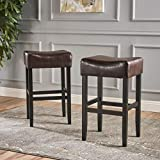 Great Deal Furniture (Set of 2) Adler Brown Leather Backless Bar Stool Review