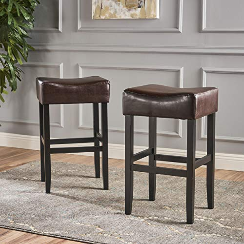Great Deal Furniture 295962 Set of 2 Adler Brown Leather Backless Bar Stool,