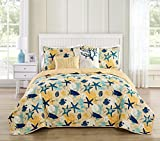 VCNY Home Aquatic 5 Piece Reversible Bedding Quilt Set, King, Blue