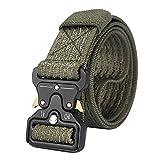 RockJay Men's Belt Heavy Duty Webbing Belt Adjustable Military Nylon Belts Metal Buckle Military Green 125cm