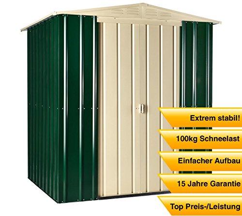 Globel Industries Metall Garten Gerätehaus Gartenhaus 6x5 green & cream // 171x144x193 cm (BxTxH) // 2,4m² // Gerätehaus Metall Satteldach