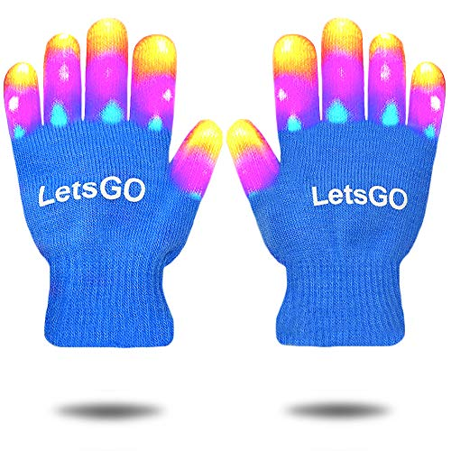 dmazing Light Up Gloves, Finger Light Flashing Led Gloves Halloween Toys for Girls Boys Fun Toys for 3-10 Year Old Kids Christmas Gifts for Kids 3-10 Party Supplies Dress Up Stocking Fillers Blue (Christmas Hot For 2019 Items)