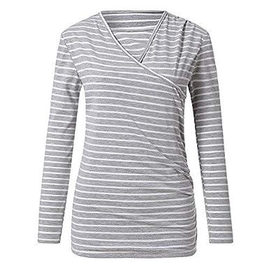HEETEY Women's Stripe Ruched Side-Shirred Nursing Top Long Sleeve Breastfeeding Shirt Pregnant Polyester Blouse