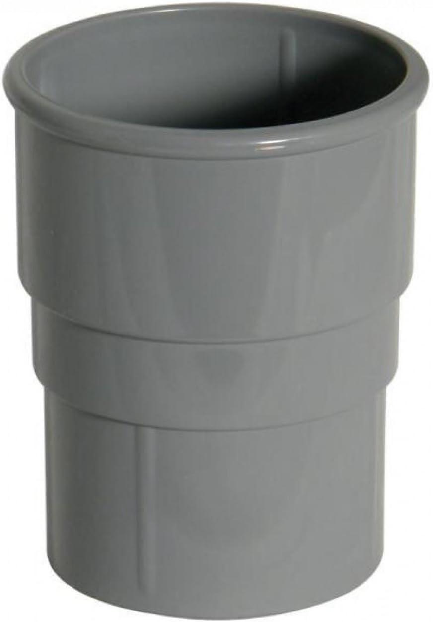 FLOPLAST 68mm Round Gutter Pipe Socket Grey Pack of 2