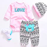 """Reborn Baby Dolls Clothes Pink Outfits for 20""""- 22"""" Reborn Doll Girl Baby Clothing Baby Sets"""