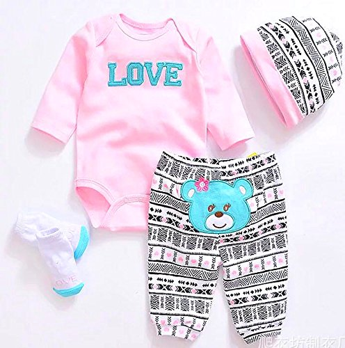 Reborn Baby Dolls Clothes Pink Outfits for 20″- 22″ Reborn Doll Girl Baby Clothing Baby Sets