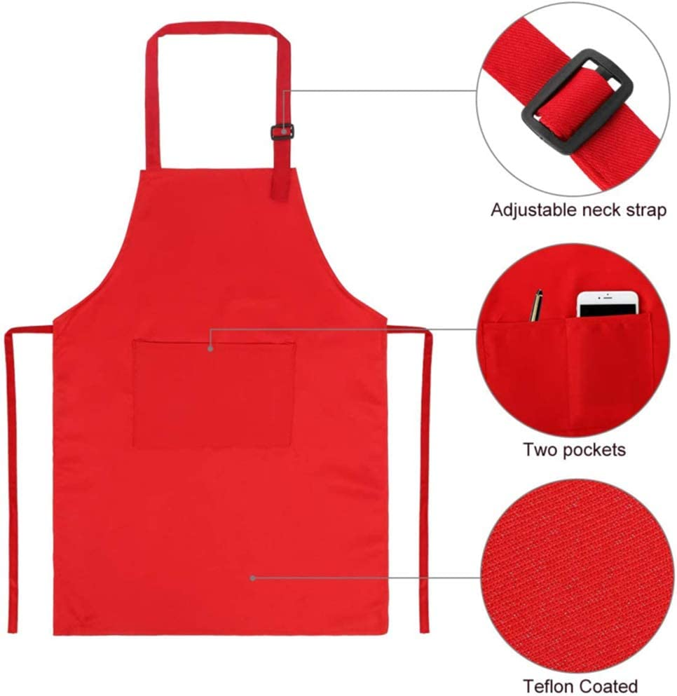 Black,White,Wine red,Yellow,red Tamicy 10 Pieces Kids Chef Hat Apron Set-Waterproof and Adjustable Child Aprons with 2 Pockets Kitchen Bib Aprons for Girls Boys Cooking Baking Painting Gardening