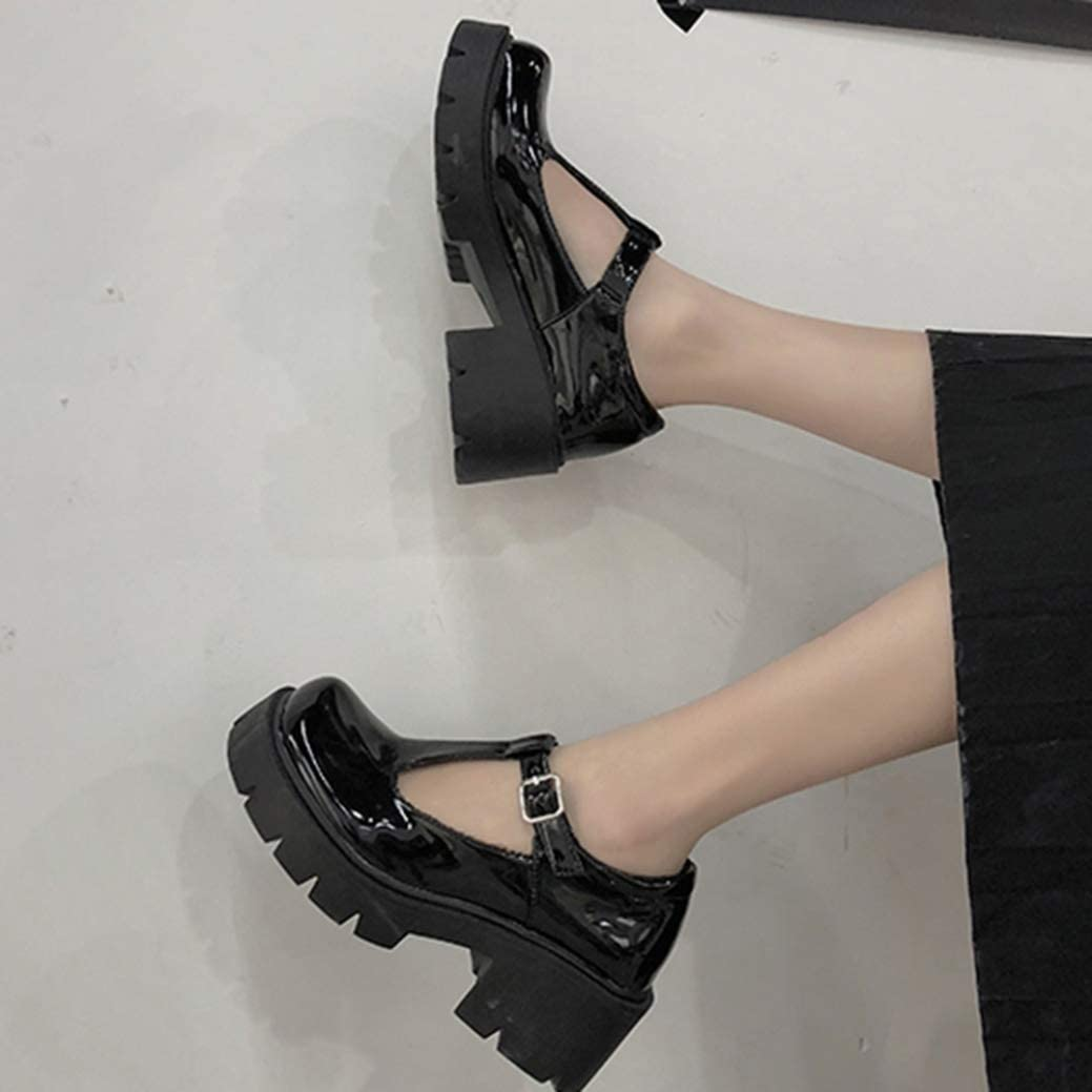 Vintage Mary Jane Shoes for Women Gothic Lolita Pu Leather Chunky D/écollet/é Tacchi Alti con Fibbia in Stile Giapponese