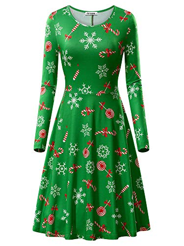 VETIOR Snowflake Dress for Women, Womens Christmas Pattern Candy Cane Print A-Line Midi Dress Green&Candy XX-Large]()