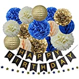 Royal Blue Birthday Party Supplies 17pcs for Boys - Happy Birthday Banner, Tissue Paper Flower Pom Poms, Lanterns, Honeycomb Balls, Star Garland