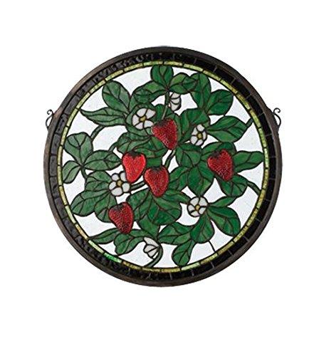 Meyda Tiffany 20728 Strawberry Medallion Stained Glass Window, 17