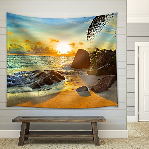 Tropical Beach at Sunset Nature Background Fabric Wall Tapestry