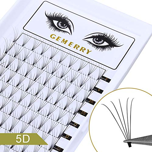 0.07mm Volume Lash Extensions, C Curl 8-14mm Mix 5D Eyelash Extensions Fans Silk Natural Premade Professional Individual Cluster Eyelash Extensions by GEMERRY