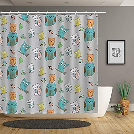 Stacy Fay Funny Sloth on The Tree Shower Curtain Animal Decor Cartoon Mom Full of Love 72 Inches Fabric Bathroom Decor Bath Curtains Hooks Included