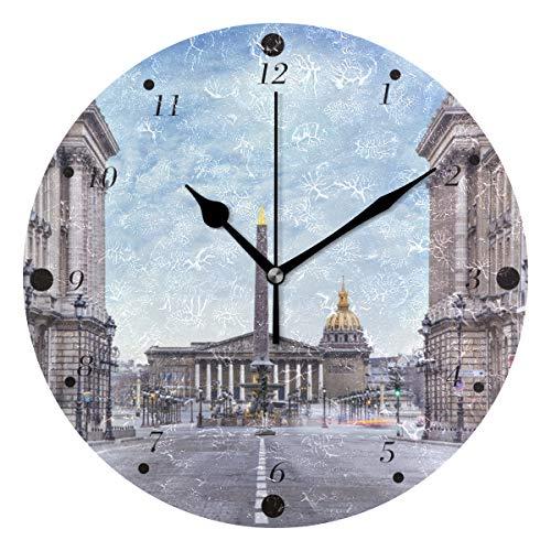 BlueViper Assemblée Nationale Et Place De Concorde Home Décor Decorative Round Acrylic Wall Clock Art Decoration Modern Elegant Creative